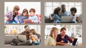 Various dads coding with their kids
