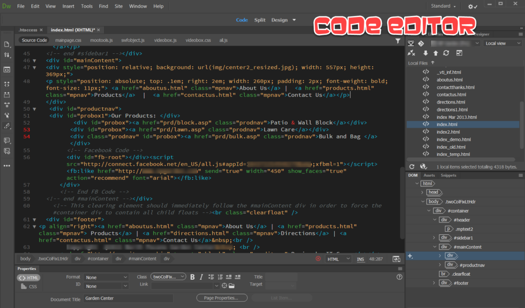 Adobe Dreamweaver Code Editor GetMeCoding