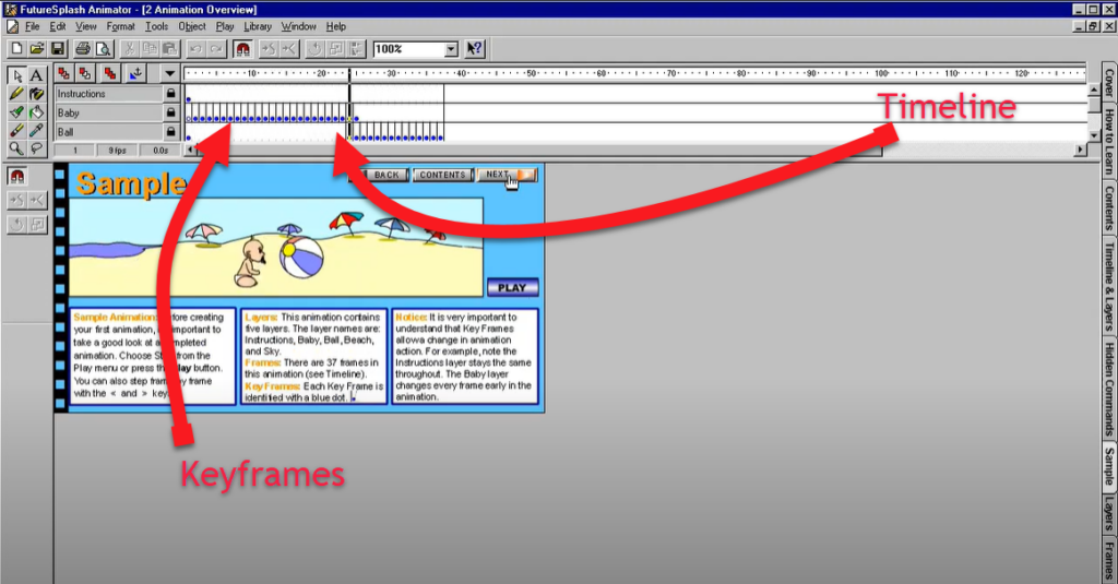 FutureSplash Timeline and Keyframes