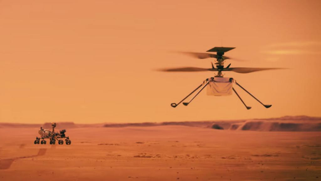 Mars Ingenuity in flight on Mars